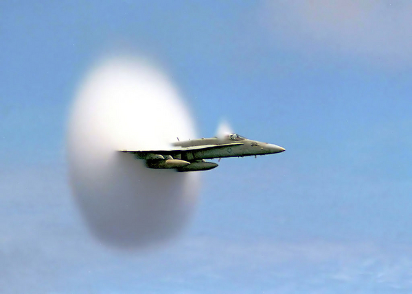 FA 18 Hornet breaking sound barrier  7 July 1999    filtered