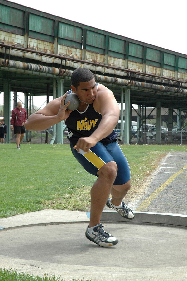681px US Navy 050429 N 7975R 001 Midshipman 4th Class Darryl Hunter side steps into position for his first attempt in the shot put event at the Penn Relays